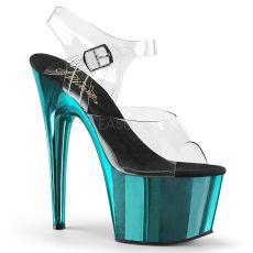 ADORE-708 Tyrkysově modré sexy sandály na vysokém podpatku