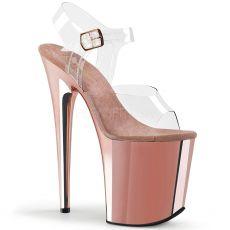 FLAMINGO-808 Růžové zlato sandály na extrémním podpatku a platformě