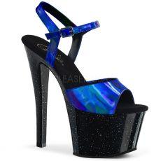 SKY-309HG Černé sexy boty s modrými holografickými pásky sky309hg/cbtblhg/b