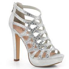 SELENE-24 Páskové stříbrné společenské boty selene24/sfa