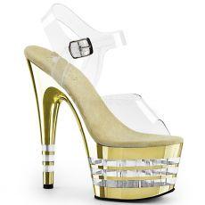 ADORE-708CHLN Zlaté strip boty na vysokém podpatku