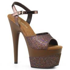 ADORE-709-2G Kávové taneční sexy boty na vysokém podpatku a platformě se třpytkami ado709-2g/cfg/m