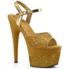 ADORE-709-2G Zlaté taneční sexy boty na vysokém podpatku a platformě se třpytkami ado709-2g/gg/m