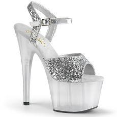 ADORE-710GT Stříbrné taneční boty na podpatku ado710gt/sg/m