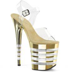 FLAMINGO-808CHLN Sexy boty na extra vysokém zlatém podpatku a platformě flam808chln/c/gch