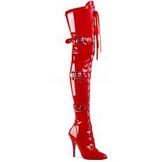 SEDUCE-3028 Červené erotické kozačky nad kolena sed3028/r