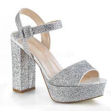 CELESTE-09 Stříbrné společenské sandály na širokém podpatku cel09/sg/m