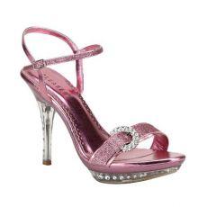 MONET-09 Růžové plesové sandálky na podpatku